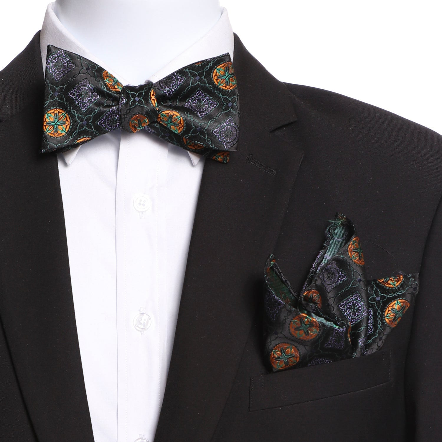 Men's Green And Black Silk Self Bow Tie - Amedeo Exclusive