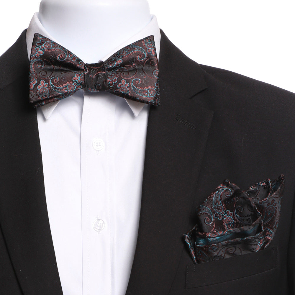 Men's Brown & Blue Self Bow Tie