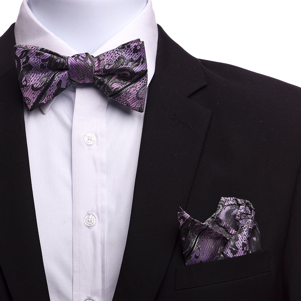 Men's Light Purple And Grey Silk Self Bow Tie - Amedeo Exclusive