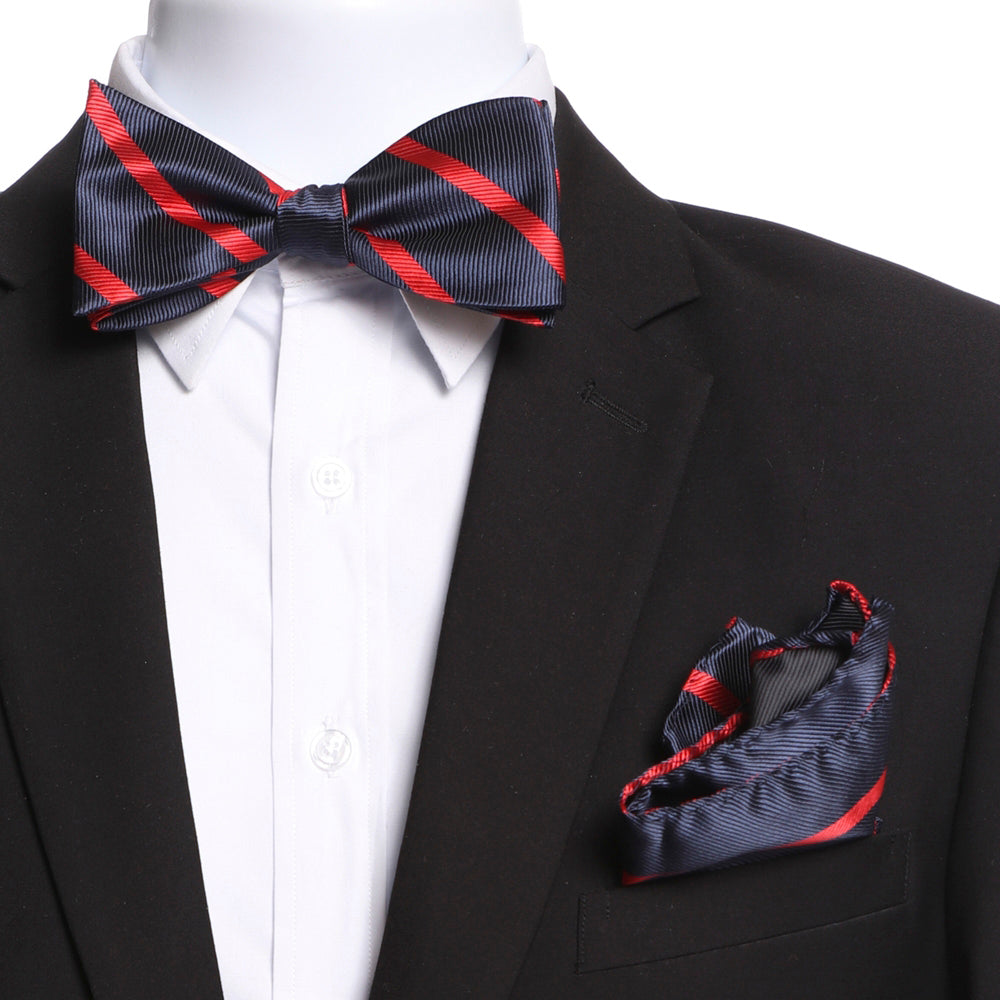 Men's Red & Navy Blue Self Bow Tie with Handkerchief - Amedeo Exclusive