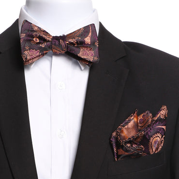 Men's Bronze, Black & Purple Self Bow Tie