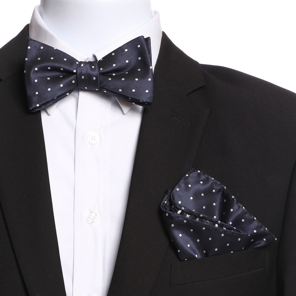 Men's Blue & White Self Bow Tie with Handkerchief