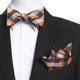 Men's Orange & Black Plaid Self Bow Tie - Amedeo Exclusive