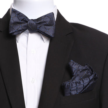 Men's Navy Blue Self Bow Tie with Handkerchief