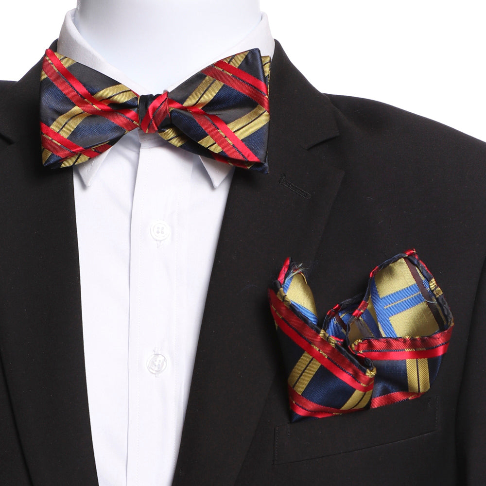 Men's Red Black Yellow Self Bow Tie - Amedeo Exclusive