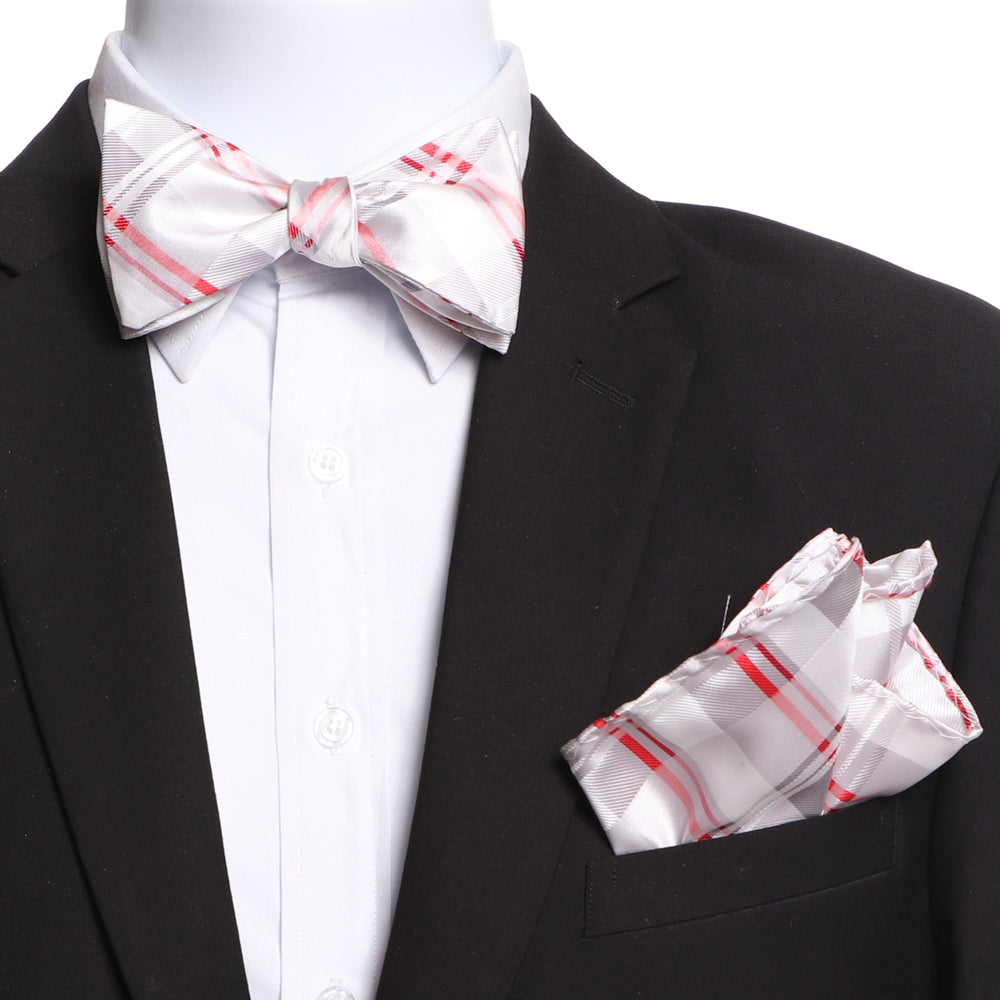 Men's White Grey Red Plaid Self Bow Tie - Amedeo Exclusive