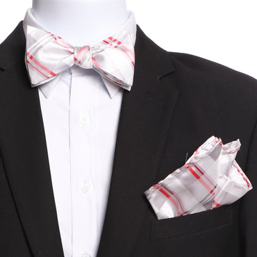Men's White Grey Red Plaid Self Bow Tie