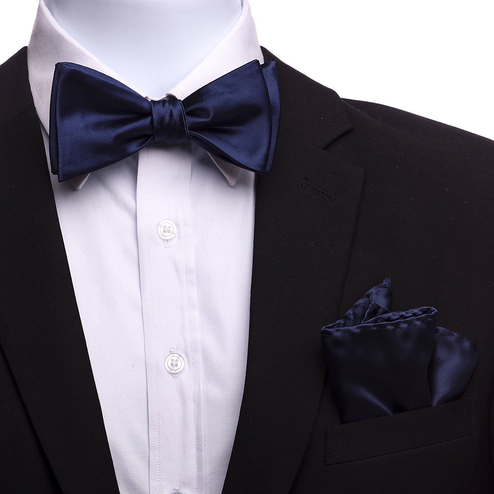 Men's Navy Blue Silk Self Bow Tie with Handkerchief