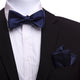 Men's Navy Blue Silk Self Bow Tie with Handkerchief - Amedeo Exclusive