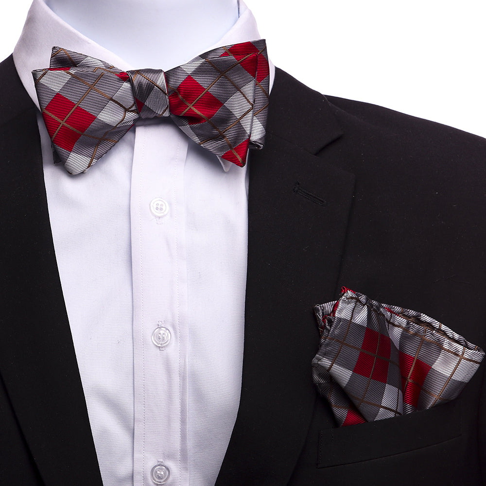 Gray /& Red Bow Tie