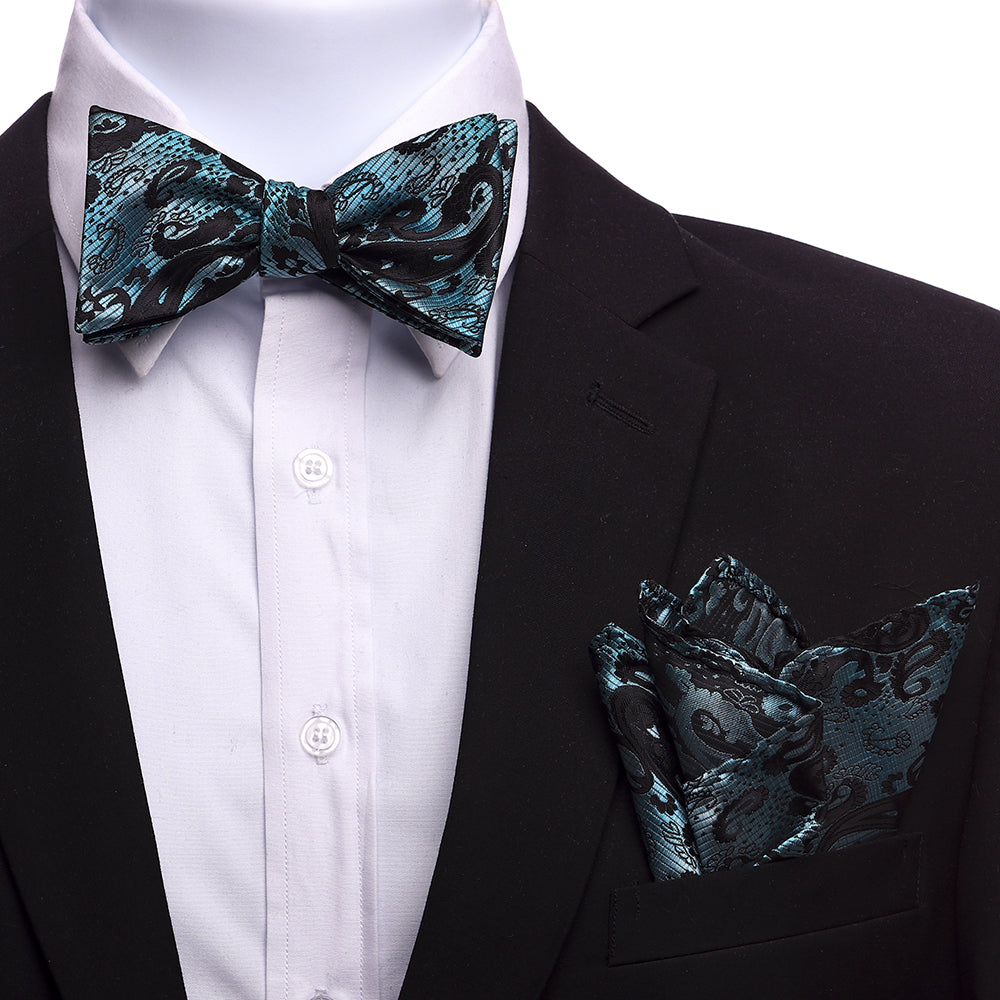 Men's Turqoise And Black Silk Self Bow Tie