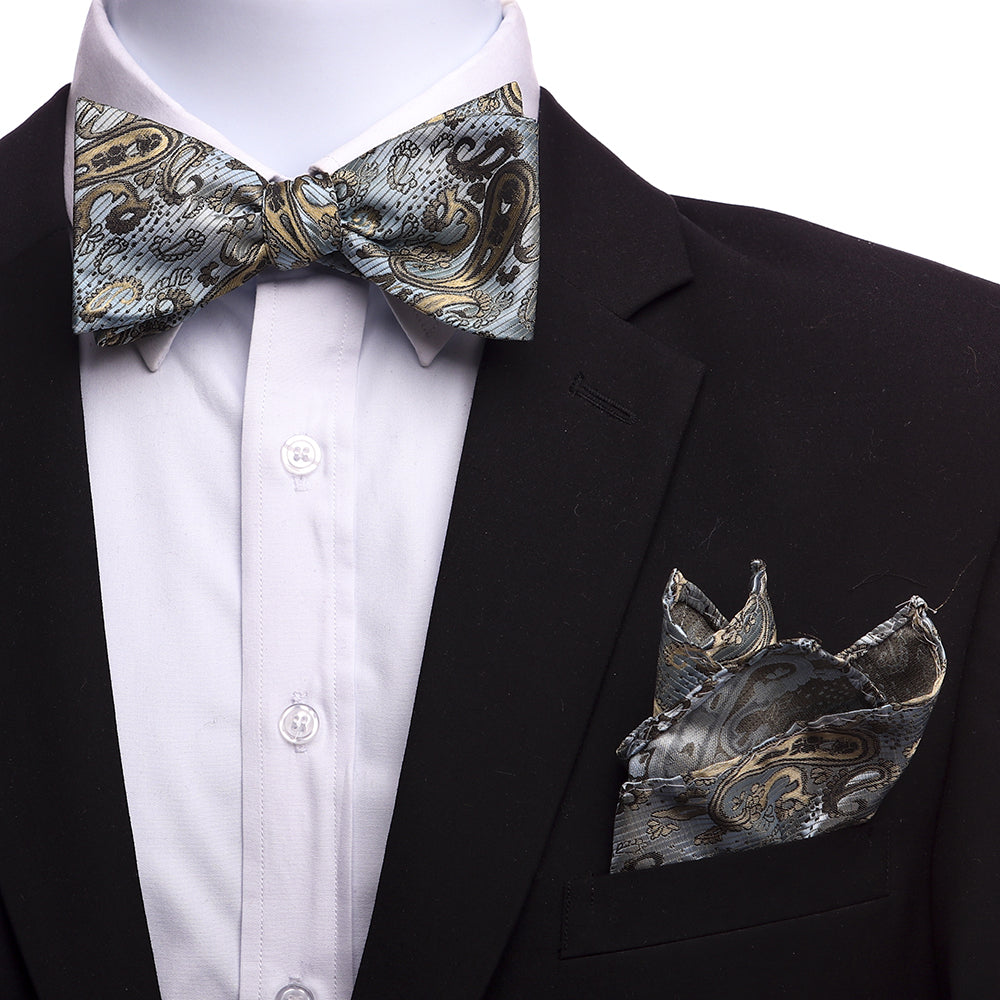 Men's Light Blue And Gold Silk Self Bow Tie - Amedeo Exclusive