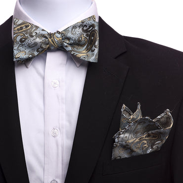 Men's Light Blue And Gold Silk Self Bow Tie