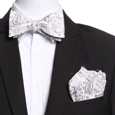Men's White & Grey Self Bow Tie with Handkerchief