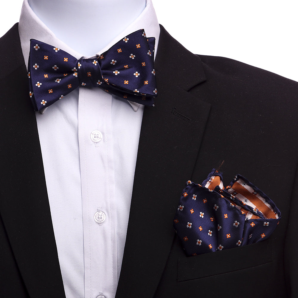 Men's Navy Blue And Orange Silk Self Bow Tie