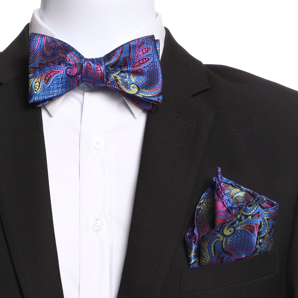 Men's Blue & Pink Self Bow Tie with Handkerchief - Amedeo Exclusive