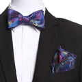 Men's Blue & Pink Self Bow Tie with Handkerchief