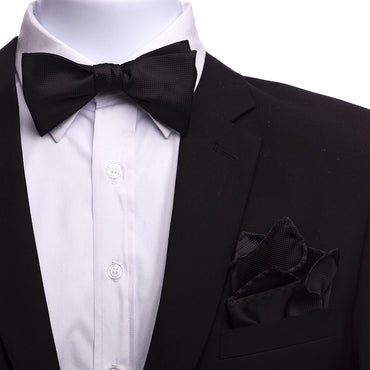 Men's Black Silk Self Bow Tie