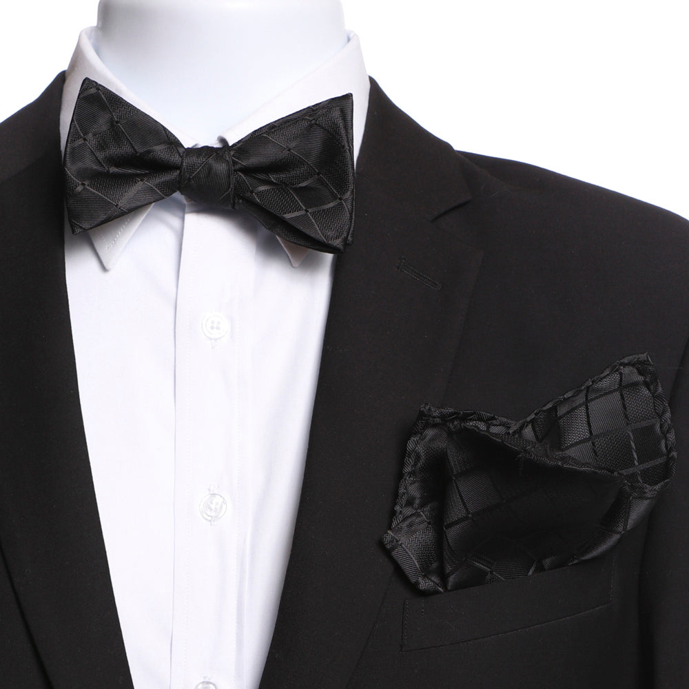 Men's Black Checkers Self Bow Tie with Handkerchief - Amedeo Exclusive