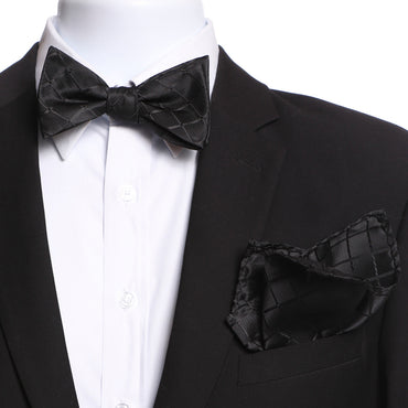 Men's Black Checkers Self Bow Tie with Handkerchief