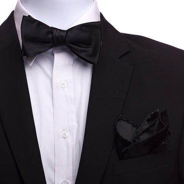 Men's Solid Black Silk Self Bow Tie