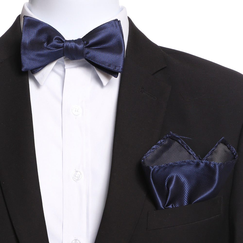 Men's Silk Navy Blue Self Bow Tie with Handkerchief - Amedeo Exclusive