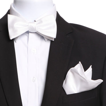 Men's White Self Bow Tie & Handkerchief