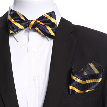 Men's Navy Blue & Yellow Self Bow Tie