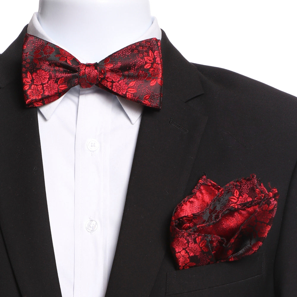 Men's Red Floral Self Bow Tie with Handkerchief