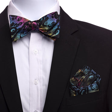Men's Rainbow Paisley Silk Self Bow Tie