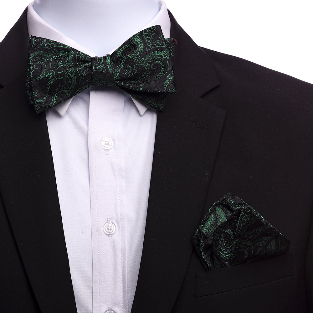 Men's Green Black Paisley Silk Self Bow Tie - Amedeo Exclusive