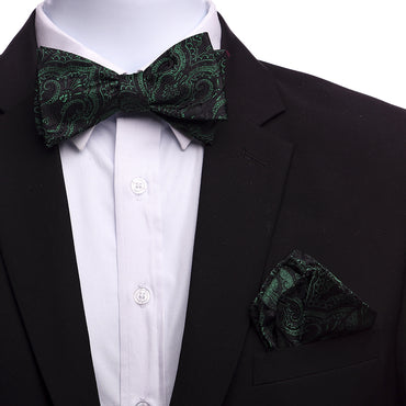 Men's Green Black Paisley Silk Self Bow Tie