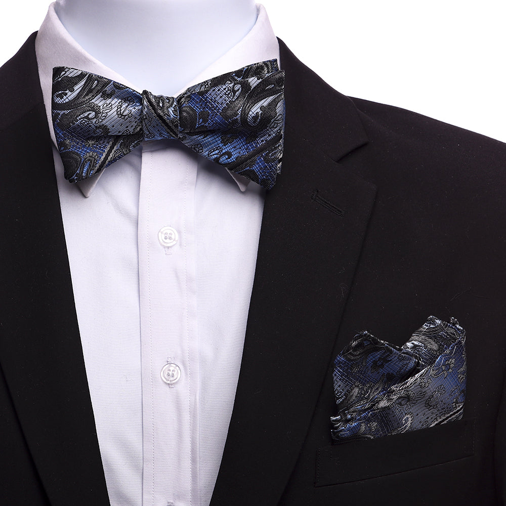 Men's Light Blue Black Silk Self Bow Tie