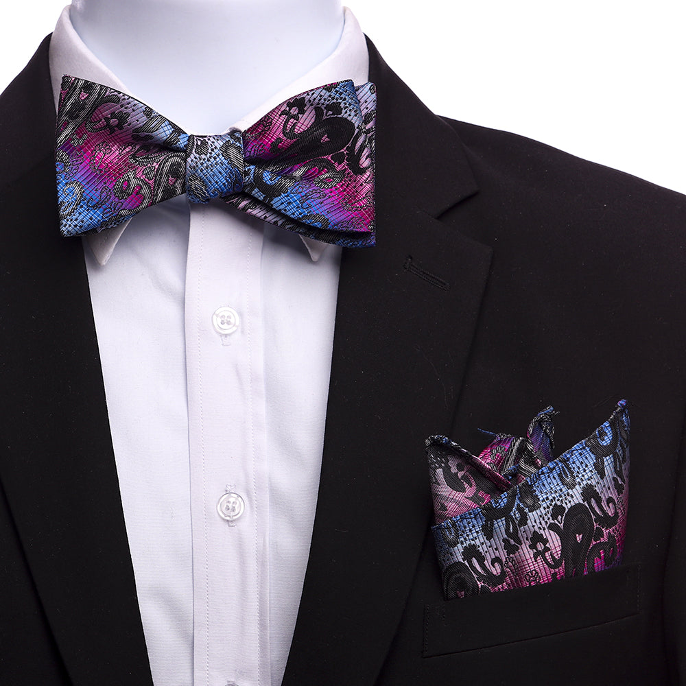 Men's Rainbow Paisley Silk Self Bow Tie - Amedeo Exclusive
