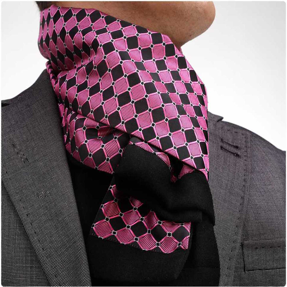Soft Elegant Long Fashion Pink Black Silk Unisex Scarf