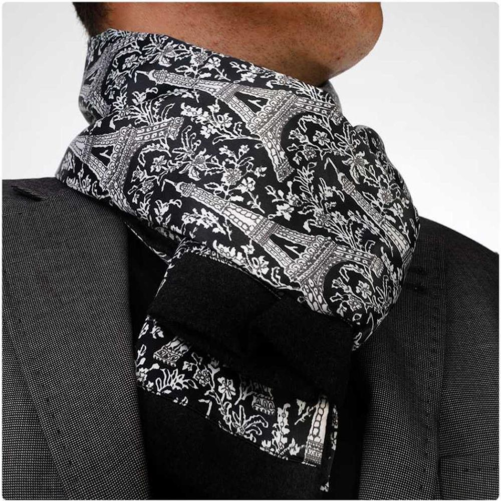 Soft Elegant Long Fashion Black White Paisley Silk Scarf