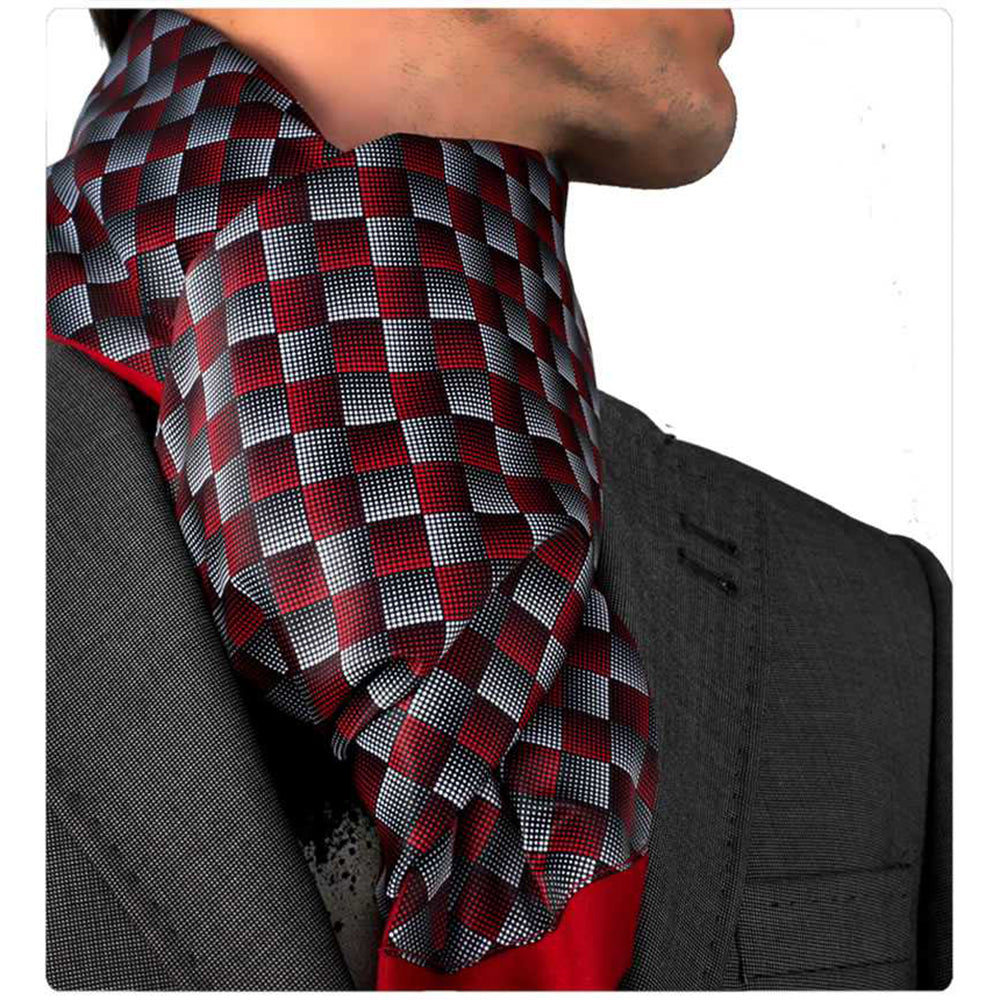 Unisex Silk & Suede Soft Long Fashion Checker Scarf - Amedeo Exclusive
