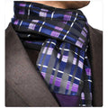 Unisex Silk & Suede Soft Elegant Long Checker Scarf - Amedeo Exclusive