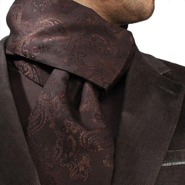 Black Purple Paisley Mens Silk Scarf - Designer neck scarf for winters - Amedeo Exclusive