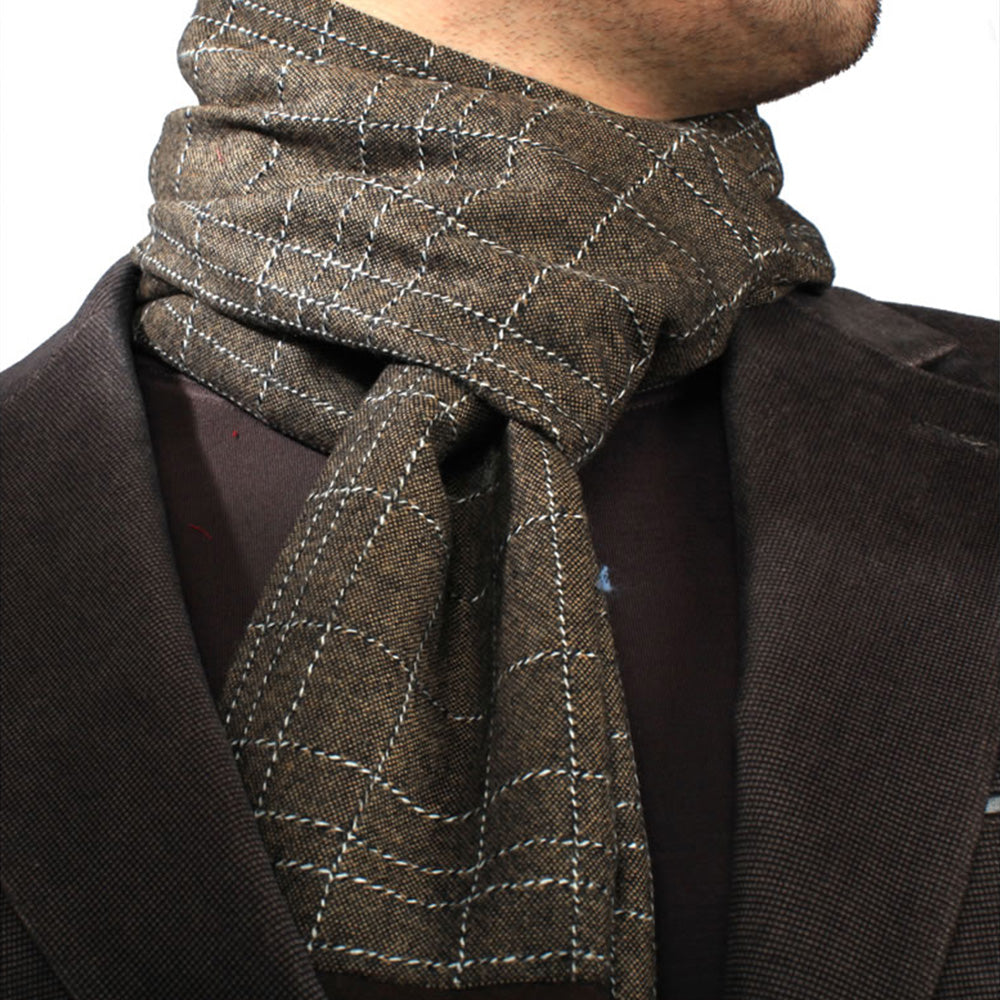 Unisex Suede Microfiber Elegant Long Checker Scarf - Amedeo Exclusive