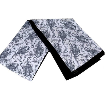 Soft Elegant Long Fashion Black White Paisley Double Side Scarf