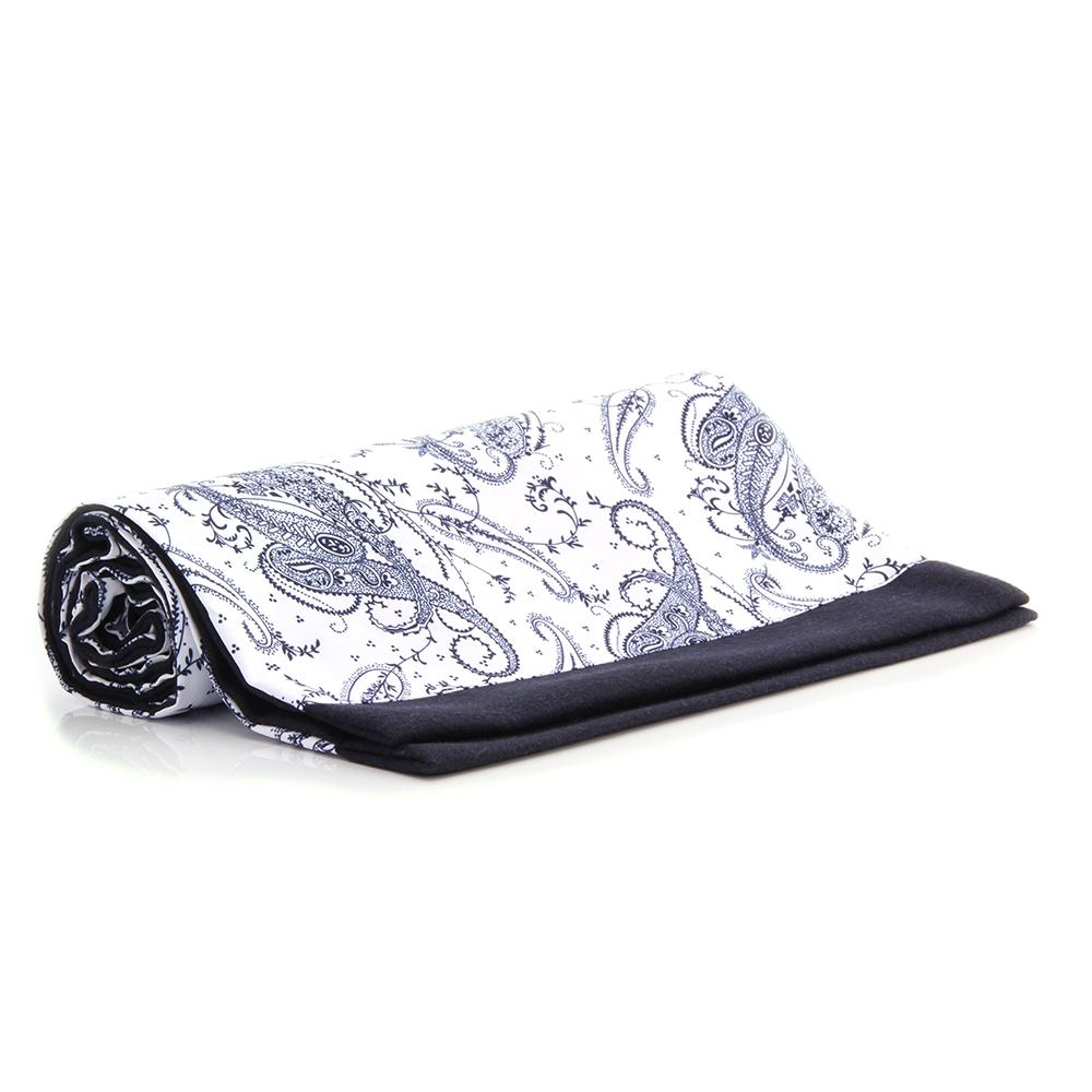 Unisex Silk & Suede Soft Elegant Long Black White Paisley Double Side Scarf