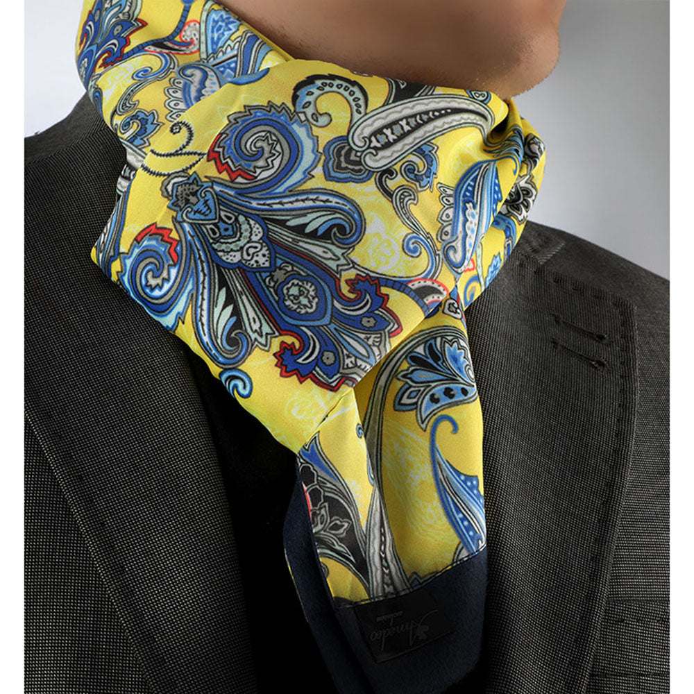 Suede Soft Yellow Blue Paisley Mens Silk Scarf - Designer neck scarf for winters - Amedeo Exclusive