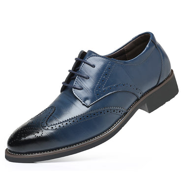 Men's Comfortable Walking Modern Leather Lace Up Oxford Dress Casual Shoes Blue - Amedeo Exclusive
