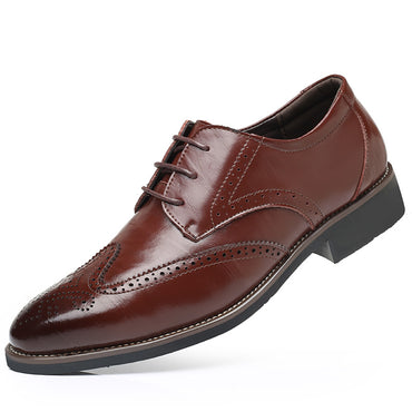 Men's Comfortable Modern Leather Lace Up Oxford Dress Casual Shoes Brown - Amedeo Exclusive
