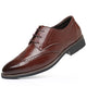Men's Breathable Brown Leather Lace Up Walking Casual Athletic Training Footwear Shoes