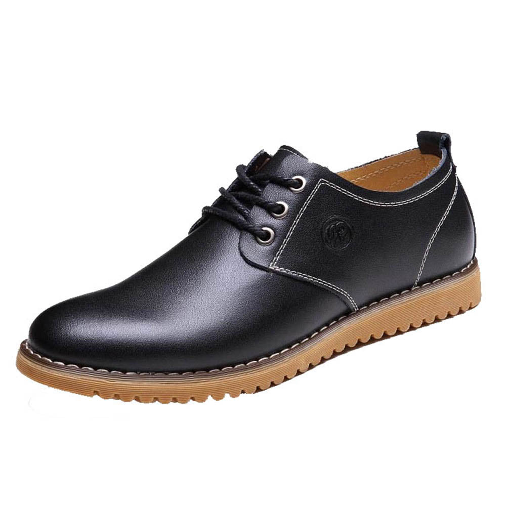 Men's Breathable Black Leather Lace Up Shaft Height Casual Athletic Training Footwear Shoes
