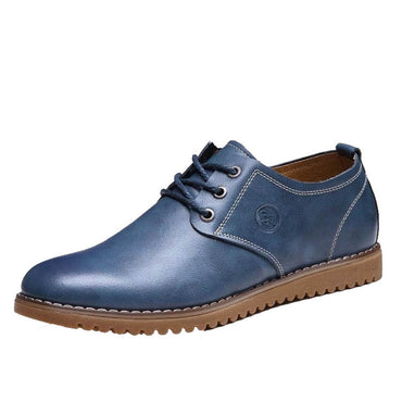 Men's Breathable Blue Leather Lace Up Shaft Height Casual Athletic Training Footwear Shoes