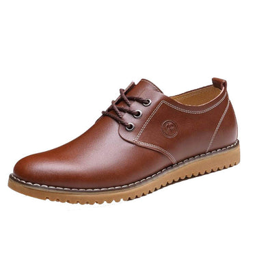 Men's Breathable Brown Leather Lace Up Shaft Height Casual Athletic Training Footwear Shoes
