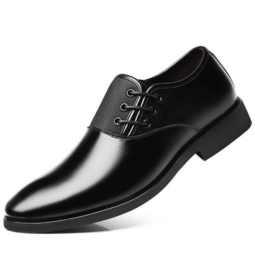 Men's Black Leather Side Lace Formal Athletic Training Footwear Shoes